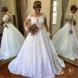 $enCountryForm.capitalKeyWord NZ - 2019 New Vestido de Noiva Vintage Clothing Long Sleeve Wedding Dress See Through Back Lace Wedding Casamento Robe De Mariee