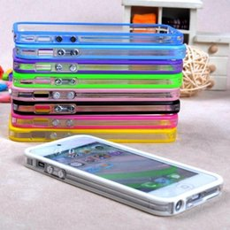 bumper case for cell phones Australia - Hot retail hybrid Middle transparent bumper for iphone 5g 5s cell phone protector frame TPU silicone rubber phone cases
