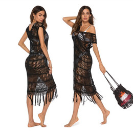 $enCountryForm.capitalKeyWord NZ - New Sexy See Through Black Crochet Fish Net Beach Dress Swimsuit Cover up Hollow Out Tassel Swimwear Beach Outings For Women2019