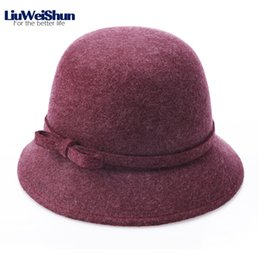 287fb6c87abed0 2018 Women Winter 100% Wool Bow-knot Bucket Fedora Hat Female Casual Brand  Wool Felt Hat Warm Formal Party Narrow Brim Fedoras