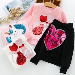 Girls pink sweatshirt online shopping - New Arrival Baby Girls Sweatshirts Children Hoodies Two Cats Sequined Long Sleeve Sweater Autumn Winter Kids T shirt Casual Tops