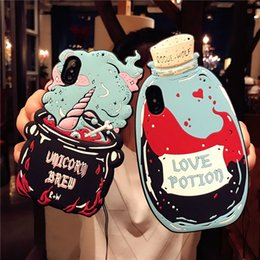 3d Rubber Case Australia - UPS For iPhone 8 7 6 3D Cartoon Love Potions Bottle Pattern Soft Silicone Rubber Kawaii Character Protective Case Cover For iPhone XR XS Max