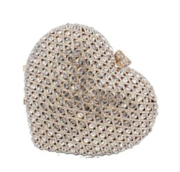diamond shaped style bags UK - Dgrain Women Minaudiere Clutch Women Small Crystal Evening Handbags Heart Shape Wedding Party Cocktail Bag Hand Bags Bolsas Feminina