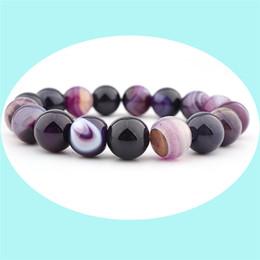 BaseBall Beads online shopping - Free DHL Natural Purple Crystal Bracelet Bangle Striped Wirth Dream Agate Ball DIY Chakra Healing Bead Bracelet Jewelry H541F Y