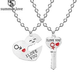 $enCountryForm.capitalKeyWord Australia - Hot sale I Love You Heart Pendant Necklace Keychain Jewelry Set for Women Couple Romantic Key Shape Couple Lover Gift Wholesale