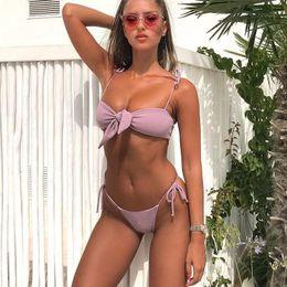 $enCountryForm.capitalKeyWord Australia - Sexy Bow Bikini 2019 Bandage Swimwear Women Swimsuit Halter Swimming Thong Bathing Suit Women Push Up Bikini Set Maillot De Bain