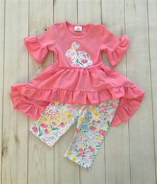 $enCountryForm.capitalKeyWord Australia - kids designer clothes girls Easter Bunny Ruffles Dress Pants Set Cartoon Rabbit Floral Short Sleeve Print Dress Baby Clothing 2019 A21901