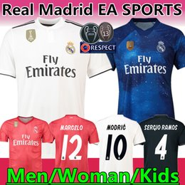 Woman jersey yelloW online shopping - Real Madrid EA Sports Jersey Thai Top quality MODRIC Marcelo Man Woman Kids Football shirt BALE ASENSIO Third Kit soccer jersey