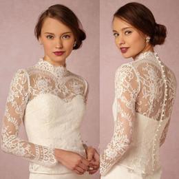 HigH neck lace bolero jacket online shopping - Custom Made High Neck Bridal Wraps Long Sleeve Wedding Lace Applique Jackets Cheap Bridal Jacket Bolero Jacket Plus Size