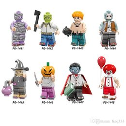 mini figures blocks NZ - Halloween Mini Figures Gift Scarecrow Zeref Elson Witch Velarde Pumpkin Vampire Meyer Hunt Building Blocks toys for children gifts PG8174