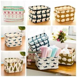 Food Compartment Box Australia - Portable Cotton Linen Desktop Sundry Storage Basket Handle Cloth Art Storage Box Cabinet Compartment Organizer DC041