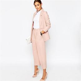 Sets Velvet NZ - Blazer Pants Suits For Work Wear Womens Pant Suits For Weddings Office Ladies Uniform Designs Woman Office Suit Top and Pant Set