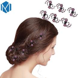 Flower Rhinestone Hair Claw Clips Australia - 6pcs Wedding Bridal Crystal Hairpins Women Flower Hair Claws Mini Barrettes Rhinestone Hair Clips Clamp Girls Hair Accessories