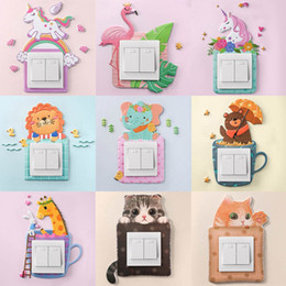 unicorn wall sticker NZ - Animal Unicorn Flamingo Cover Cartoon Room Decor 3D Wall Silicone On-off Switch Luminous Light Switch Outlet Wall Sticker