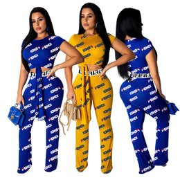 Cloth bandages online shopping - Women s F Letter Loose Pants Short Sleeve Bandage Crop Top T Shirt Wide Leg Trousers Outfit Sportswear Summer Track Suit Club Cloth A42605