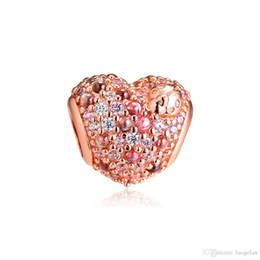 Ladybug Charms UK - 2019 Spring 925 Sterling Silver Jewelry Rose Sparkling Ladybug Heart Charm Beads Fits Pandora Bracelets Necklace For Women DIY Making