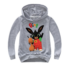 rabbit sweatshirt girl NZ - 2-16Y Cartoon Bing Rabbit Pullover Hooded Hoodies Sweatshirts Shirt Baby Boys Girls Long Sleeves TShirt Shirt Top Tees