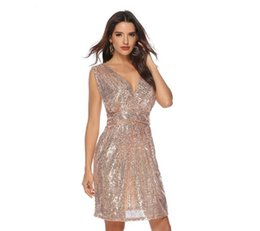 Sequin Sexy Clothes UK - Sexy Club Women Deep V Neck Sleeveless And Sequin Dress European Style Party Clothing For Ladies