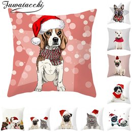 $enCountryForm.capitalKeyWord Canada - Fuwatacchi Merry Christmas Hat Cushion Covers Dog Animals Gift Throw Pillow Covers for Home Sofa Decorative Pillow Cases 45*45cm
