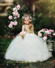 cheap girl tutus Canada - Lovely Gold Sequined Flower Girl Dresses Ball Gown Tutu Sash Crew Neck 2020 Baby Child Birthday Party Formal Gowns Girls Pageant Dress Cheap
