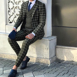 New Check Suits Australia - New Wedding Tuxedos Green Check Slim Fit Men's Suits Formal British Plaid Groom Tuxedos Custom Made Jacket Pants