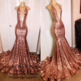 $enCountryForm.capitalKeyWord Australia - Rose Gold Sequin Evening Dresses Bling Sexy Backless Mermaid Long African Black Girls 2K19 Prom Dress Evening Gowns 2019 Robe de soiree