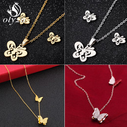 stainless steel butterfly jewelry set NZ - Oly2u Butterfly Jewelry Sets For Women Stainless Steel Necklaces Stud Earrings Bridal Fashion Jewelry Set collier femme brincos