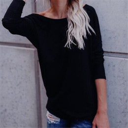 Casual Long Back Blouse Australia - Backless Ladies Womens Top Blouses Fashion Women Long Sleeve Twisted Open Back Loose Tops Casual Shirt Blouse