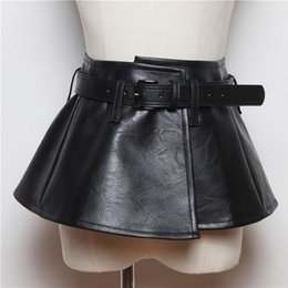 genuine leather woman cummerbund UK - 2020 New Wide Belt Women Corset Belts Pu Leather Ruffle Skirt Peplum Waistband Belts Belts & Accessories Cummerbunds Female Dress Strap Gird