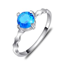 Valentine Ring Gifts Canada - 6 PCS LOT Luckyshine Valentine Gift Amazing Round Sky Blue Topaz Gemstone 925 Sterling Silver Plated Weddiing Rings R0793