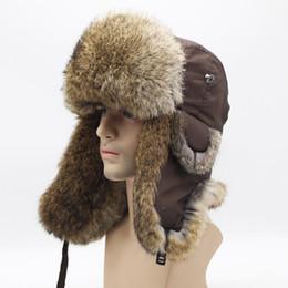 Fur Hats Men Australia - Men Bomber rabbit Fur Fluffy Trapper Hats Thick Warm Hat Rex Winter Snow Caps Ear Flap Caps ushanka Riding Cycling earmuffs