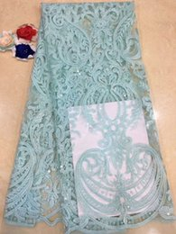 Wedding Dress Lace Fabrics Yard Australia - EPY1294 Green color African mesh lace fabric with sequins 5 yards lot for making sewing wedding dress!