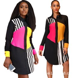 Cap Sleeved Dresses Australia - Women Single Breasted Shirt Dress Spring Patchwork Striped Long Sleeved Autumn Casual Loose Dresses