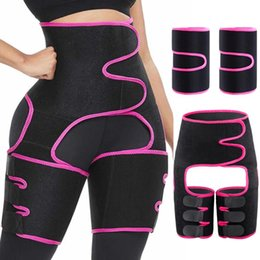 Wholesale thighs shaper resale online - Upgrade Waist Trainer in Thigh Trimmers with BuLifter Body Shaper Arm Belt For Waist Support Sport Workout Sweat Bands