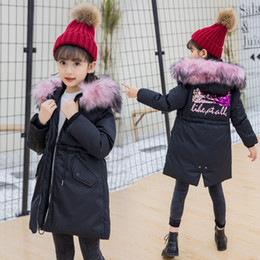 Summer Parka Australia - Children Clothes Faux Big Fur Hooded Long Coat Design Down Cotton Jacket Parkas Russia Winter Clothing Overcoat