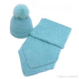 $enCountryForm.capitalKeyWord UK - Imitation mink cashmere baby Child Winter hat scarf set Real Fox Fur Pom Poms Ball Cap Warm Beanies Skullies beanie hat scarf suit