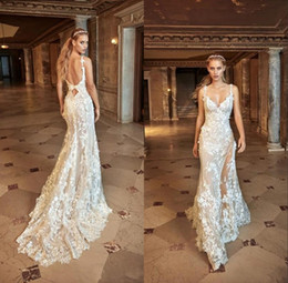 $enCountryForm.capitalKeyWord NZ - Mermaid Country Wedding Dresses 2019 Modest Spaghetti Backless Sweep Train Beach Wedding Dress Split Fishtail Wedding Gowns