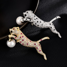 hijab accessories jewelry Australia - High-end brooches for women enamel pin Fashion Jewelry hijab pins Dress coat Accessories women gifts Crystal Leopard brooch pins