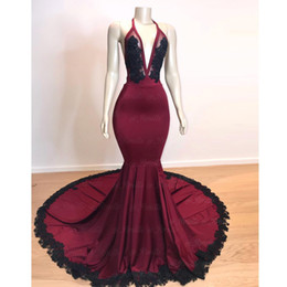 $enCountryForm.capitalKeyWord NZ - Dark Red and Black Mermaid Prom Dresses Long 2019 V Neckline Open Back Bead Lace Formal Evening Gowns Cocktail Party Red Carpet Dress