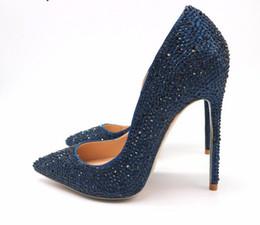 $enCountryForm.capitalKeyWord Australia - Free Shipping woman women lady2019 new dark blue navy crystal pointed toe high heels shoes pumps Rhinestone Stiletto Heel