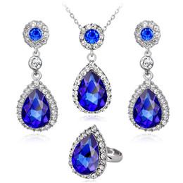Rhinestone Jewelry Sets Designs Australia - Brilliant Created Rhinestone Design Pendant Neckalce Bracelet Ring 4colors Zircon stone Jewelry Set For Lady Wedding Jewelry Set
