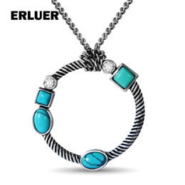 $enCountryForm.capitalKeyWord Australia - ERLUER Vintage Necklace Jewelry Retro Silver Round Natural Stone Crystal calaite Resin Necklaces & Pendants For Women Girls Gift