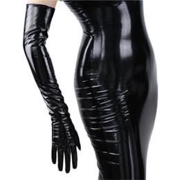 $enCountryForm.capitalKeyWord Australia - Fashionable Women's Long Leather Gloves 70cm Long Over Elbow Simulation Leather Pu Seiko No Lining Black Tb16 MX190817
