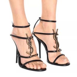 Imagem Real Marca Sexy Shoes Mulher Verão Buckle Strap Sandálias de Designer De Alta Sapatos de Salto Alto Dedo Aberto Moda Saltos Finos