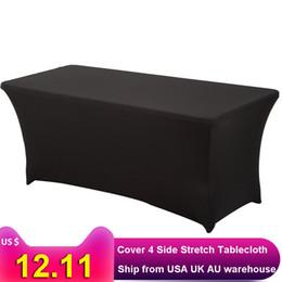 $enCountryForm.capitalKeyWord NZ - White Spandex Lycra Home Kitchen Dining Linen Cloth Dj Wedding Tablecloths For Rectangular Table 4ft 6ft 8ft Q190603