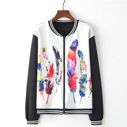 $enCountryForm.capitalKeyWord Australia - Outerwear & Coats Jackets Women Long Sleeve O-Neck Oversize Feather Print Zipper Pockets Casual Sport Coat Chaqueta casual
