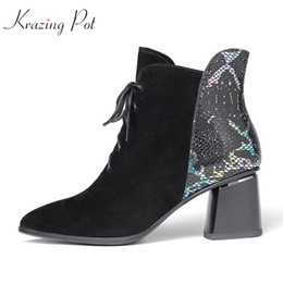 $enCountryForm.capitalKeyWord NZ - krazing pot new fashion basic clothing Korean girl kid suede lace up med heels pointed toe keep warm mixed color ankle boots l12