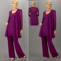 $enCountryForm.capitalKeyWord Australia - Grape Purple 3 Pieces Mother of the Bride Pants Suits Long Sleeve Jakcet Chiffon Mother of the Groom Dress Formal Evening Costume