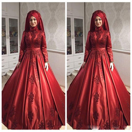 Red High Neck Wedding Gown Australia - Modest Muslim Burgundy Wedding Dresses High Neck Long Sleeve Lace Appliques Ball Gown Wedding Dress Satin Saudi Arabia Bridal Dress