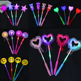 Novelty Love Heart Led Glowing Flashing Sticks Children Blinking Fairy Wands Wedding Birthday Party Favor Gift Halloween Costume Props
